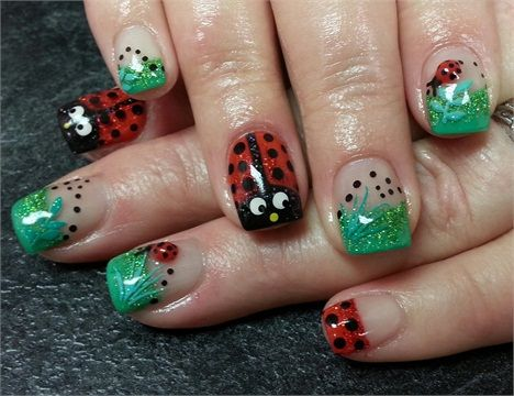 Day 77: Ladybug Nail Art - - NAILS Magazine - Day 77: Ladybug Nail Art Animal Nail Art Pinterest Nails