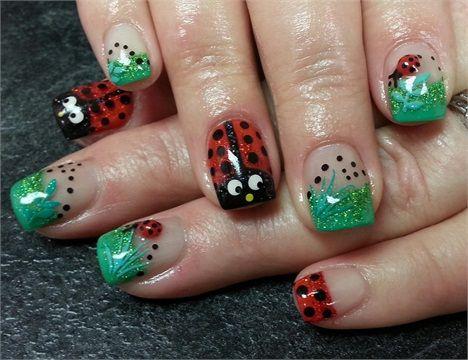 Day 77 Ladybug Nail Art Animal Nail Art Pinterest Ladybug
