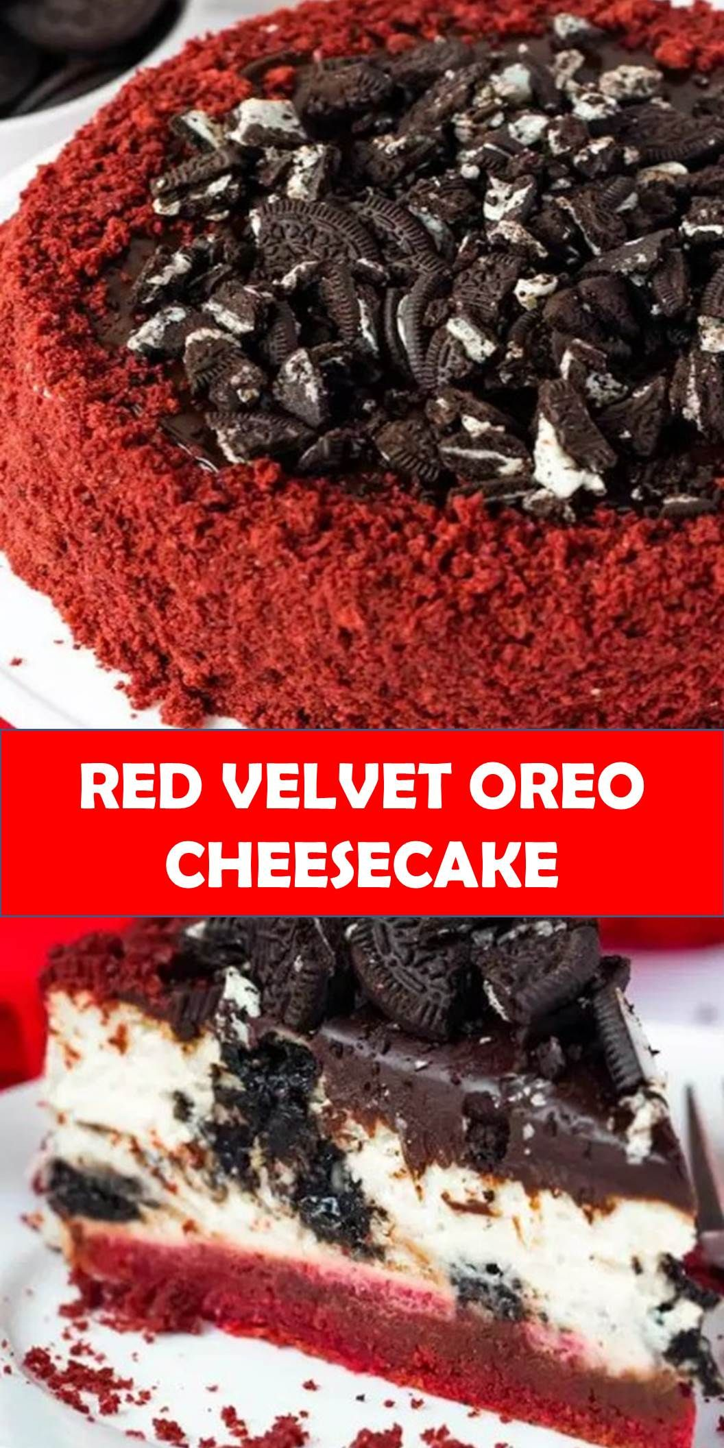 #DELICIOUS #RED #VELVET #OREO #CHEESECAKE Your family's favorite food and drink ! RED VELVET OREO CHEESECAKE This Red Velvet Oreo Cheesecake starts with a red velvet cake base and a creamy Oreo cheesecake filling that's topped with ganache, chopped Oreos and surrounded by moist red velvet cake crumbs! #Best #Vegas #Recipe! #BestVegasRecipe! #redvelvetcheesecake