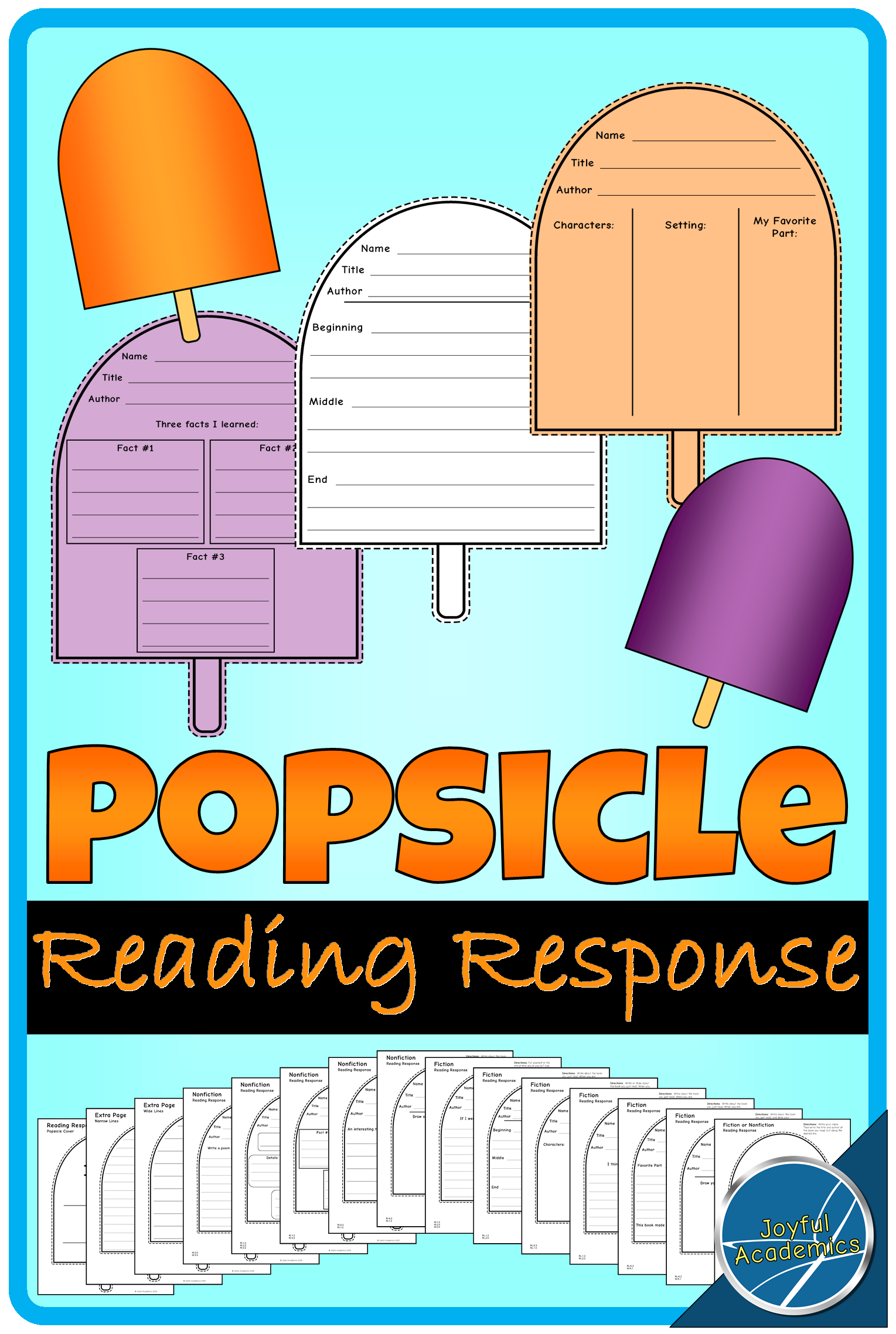 Popsicle Shaped Reading Response Sheets for Any Book   Nonfiction ...