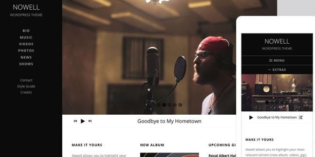 AudioTheme Nowell Demo : Responsive Music Band WordPress Theme http ...