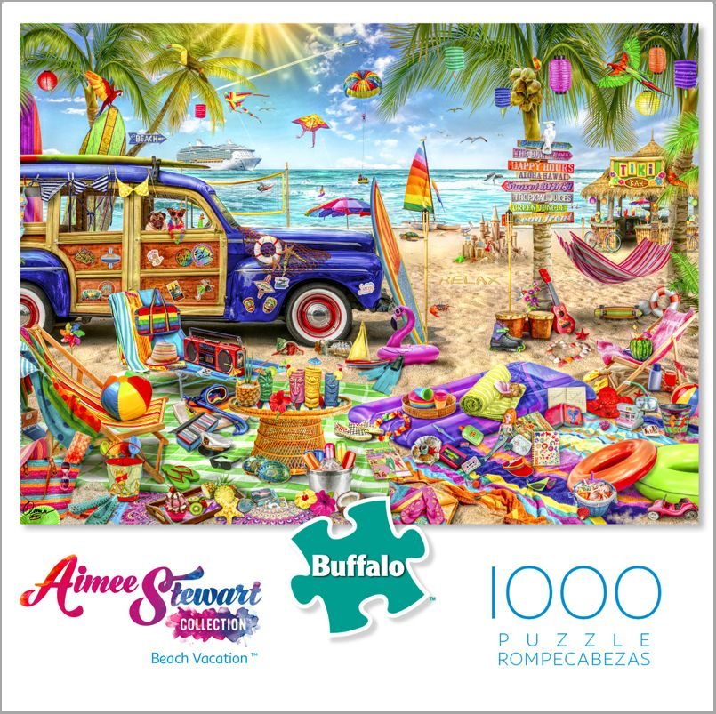Beach Paintings 1000 Piece Jigsaw Puzzle by Norman Rockwell MasterPieces Saturday Evening Post Beachtime Collage