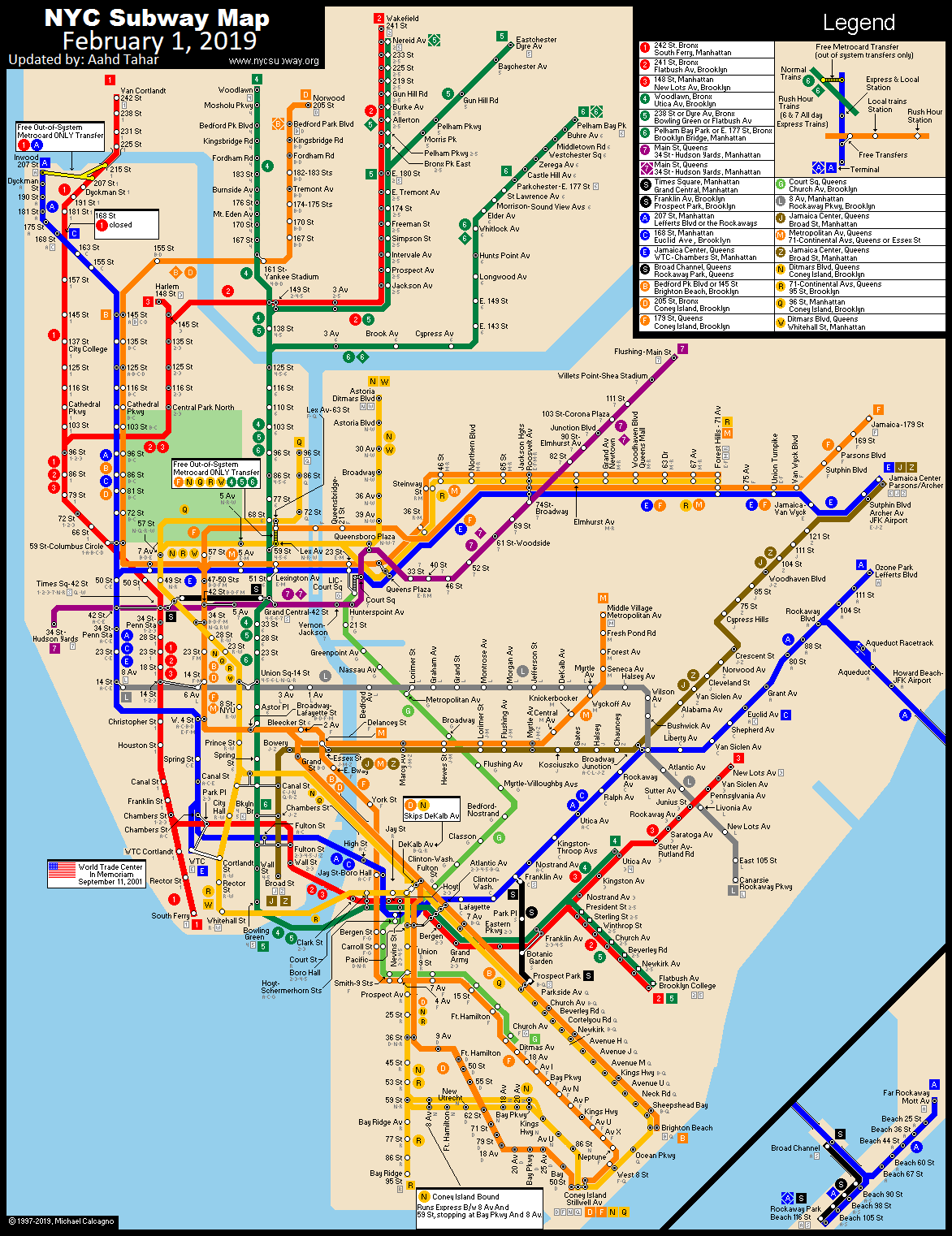 Ny Subway Map 7 Train.Www Nycsubway Org New York City Subway Route Map By Michael