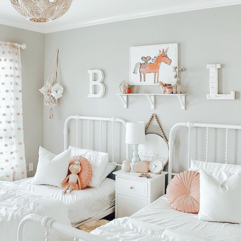 Here S What S Trending In The Nursery This Week Project Nursery Shared Girls Bedroom Shared Girls Room Twin Girl Bedrooms