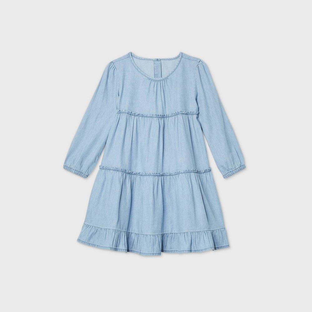 Oshkosh B Gosh Toddler Girls Tiered Chambray Long Sleeve Dress Blue 2t Girls Blue Dress Toddler Girl Dresses Short Sleeve Floral Dress [ 1000 x 1000 Pixel ]