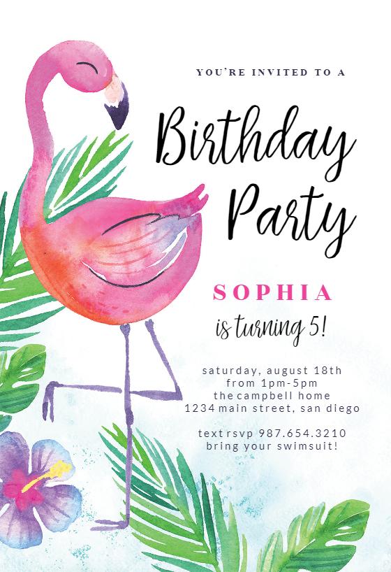 Watercolor Flamingo Birthday Invitation Template Free Greetings Island Flamingo Birthday Invitations Printable Birthday Invitations Party Invite Template
