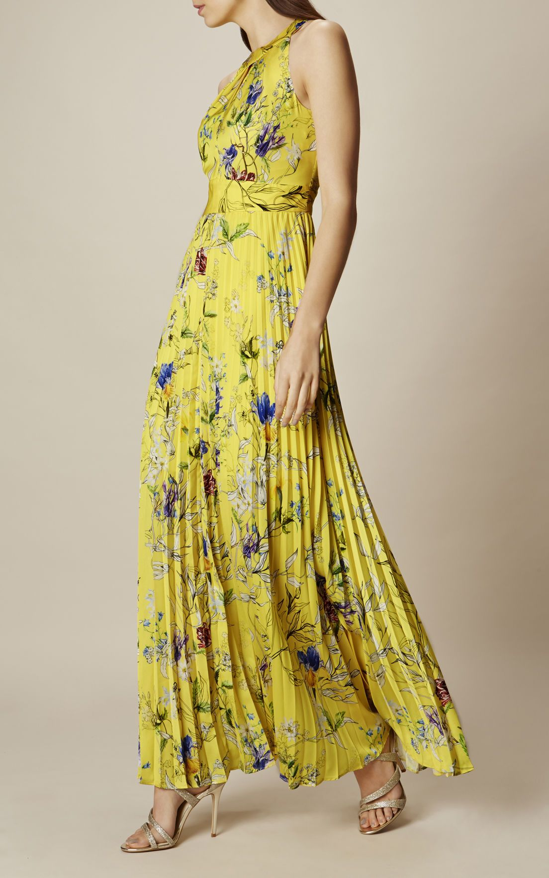 bd12e3bdac Karen Millen, YELLOW FLORAL MAXI DRESS Yellow/Multi 1 | Bosci ...