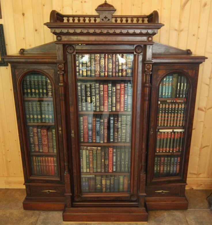 Eastlake Burled Walnut 2 Door Drawer Bookcase Orig Br Hardware Keys