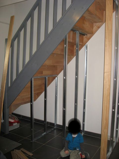 Maison de j r me et laetitia am nagement meuble sous escalier rangement so - Armoire sous escalier ...