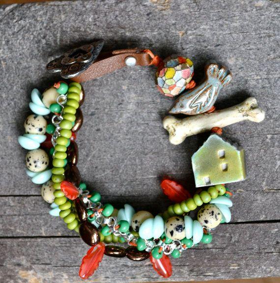 Bad to the Bone Multi Strand bracelet with by LoreleiEurtoJewelry