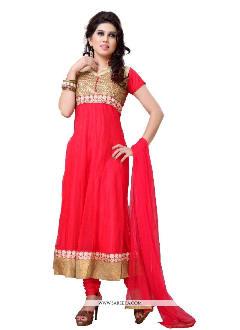 Designer salwar kameez mesmeric peach color net designer suit - Attract Compliments By This Red Net Designer Suit This Beautiful Attire Is Displaying Some Remarkable
