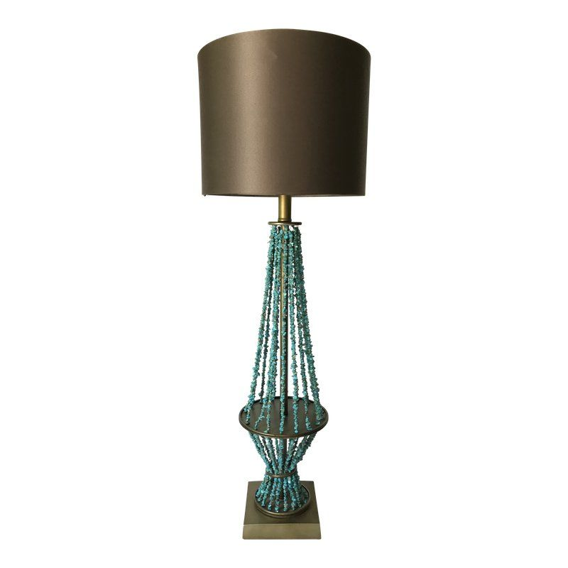 Genuine Turquoise Beaded Table Lamp in 2020 | Table lamp