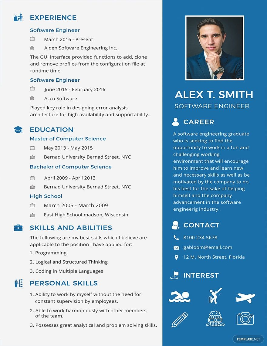 Free Resume Cv For Software Engineer Fresher Template Word Psd Indesign Apple Pages Illustrator Publisher Engineering Resume Templates Engineering Resume Resume Software