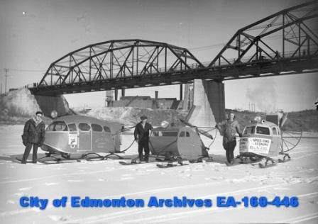 """EA-160-446 """"Snowmobiles – Built in Edmonton"""" 1937 In the background are the Walterdale Bridge and the power plant. From the Transforming Edmonton website"""