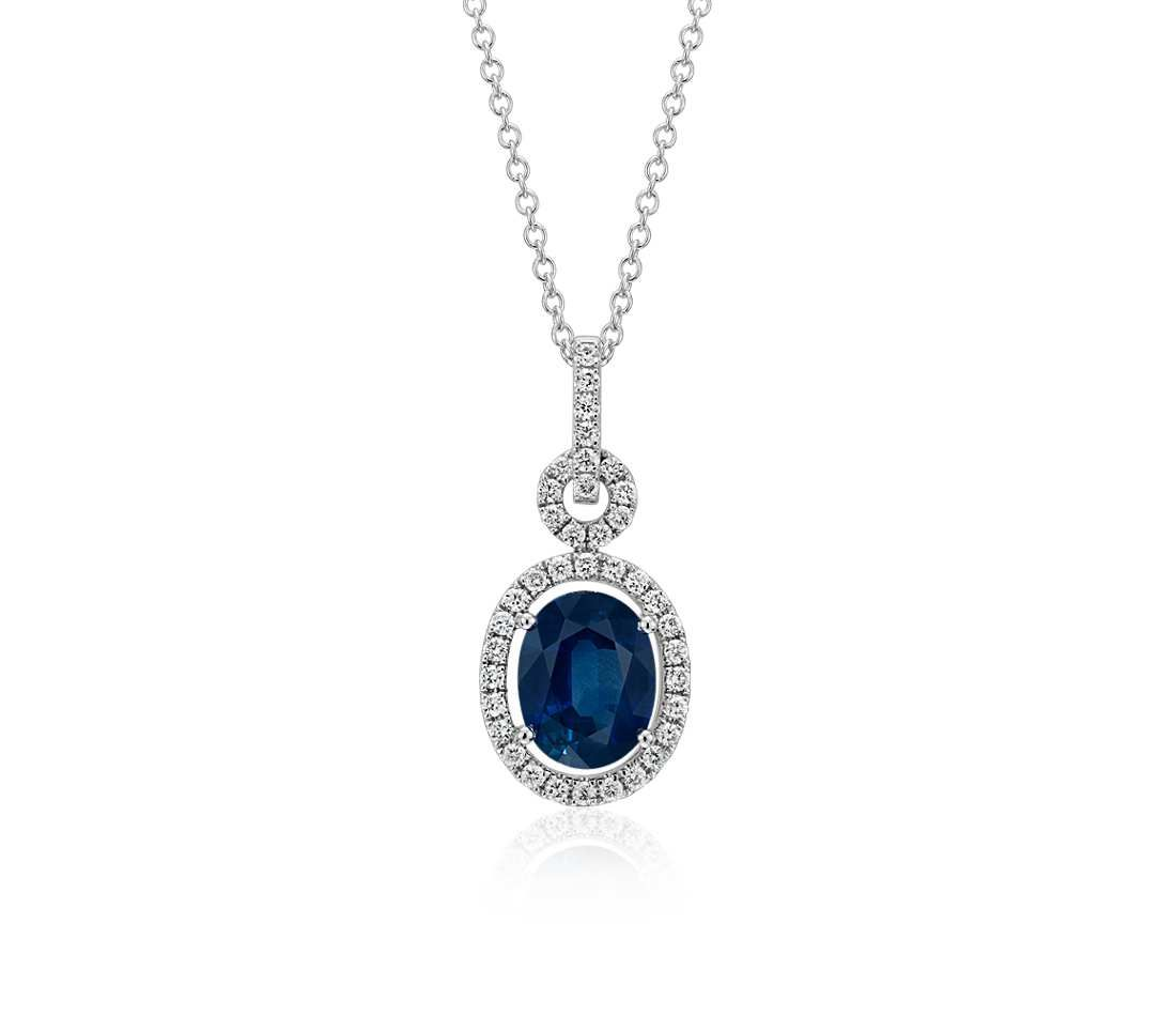 Floating sapphire and diamond oval twisted pav pendant in 18k white floating sapphire and diamond oval twisted pav pendant in 18k white gold 9x7mm aloadofball Choice Image