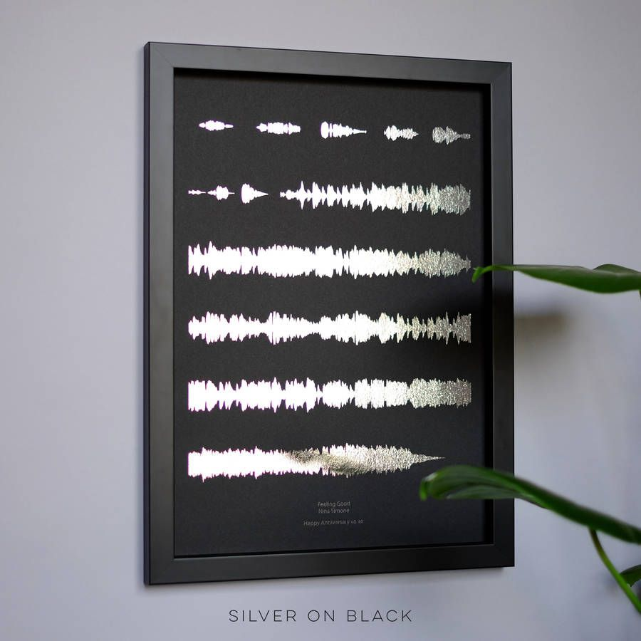 Metallic Personalised Favourite Song Sound Wave Print is part of Home Accessories Black Colour - A stunning metallic foil personalised print designed for music lovers, featuring your favourite song, in the format of visual soundwaves, on coloured paper backgrounds Under your soundwave, we write the song title and artist name in title case  If you want something different to this, please send a note with your order This striking personalised sound waves print is a great present to invoke those treasured memories  Featuring the 'first dance' song, it makes for a perfect wedding or anniversary gift  Enter the song title and artist name when ordering, and we'll convert that track into a visual waveform  What you see is the whole song from start to finish  If your song is not available to download online, please send us a message and we'll explain how to send us an mp3  This print can be made using any sound file, so if you'd like something different, please come through to us via 'ask seller a question' Yve Print Co prints are created to order in our studio in Bristol  The metallic foil is applied by hand onto beautiful coloured paper  Our handmade wooden frames come in satin black, satin white, and solid oak  We add wooden slips to the inside of the frames to keep the glass away from the print  The result is a contemporary looking, quality frame which we then finish with artist's backing tape  Our aluminium gallery frames have a slim face and stand out from the wall by 2 5cm  They come in glossy black or mirror silver  Alternatively, you can frame the print yourself in widely available standard A size frames  Aluminium frames and any frame being delivered to a nonUK mainland address, will be glazed in highquality acrylic glazing, to avoid breakage  Proofs are black and white digital images to show you how your chosen song looks in the form of a visual sound wave  We are unable to show you a proof using metallic foil on coloured paper as this is not a digital process  I