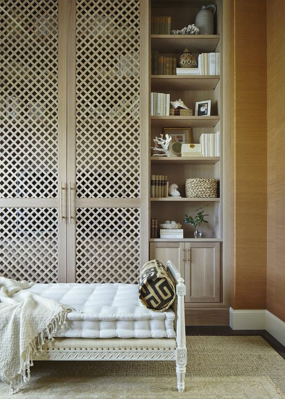 Storage Linen Closet With Lattice Doors A Library Office