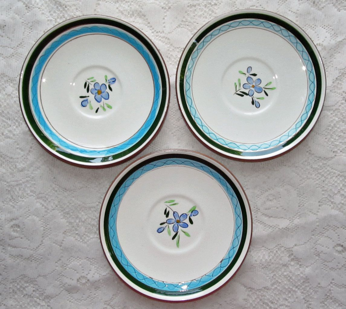 Stangl Country Garden Saucers. Vintage Blue Floral Stangl Pottery Dinnerware, offered by 2kVintageShop on Etsy