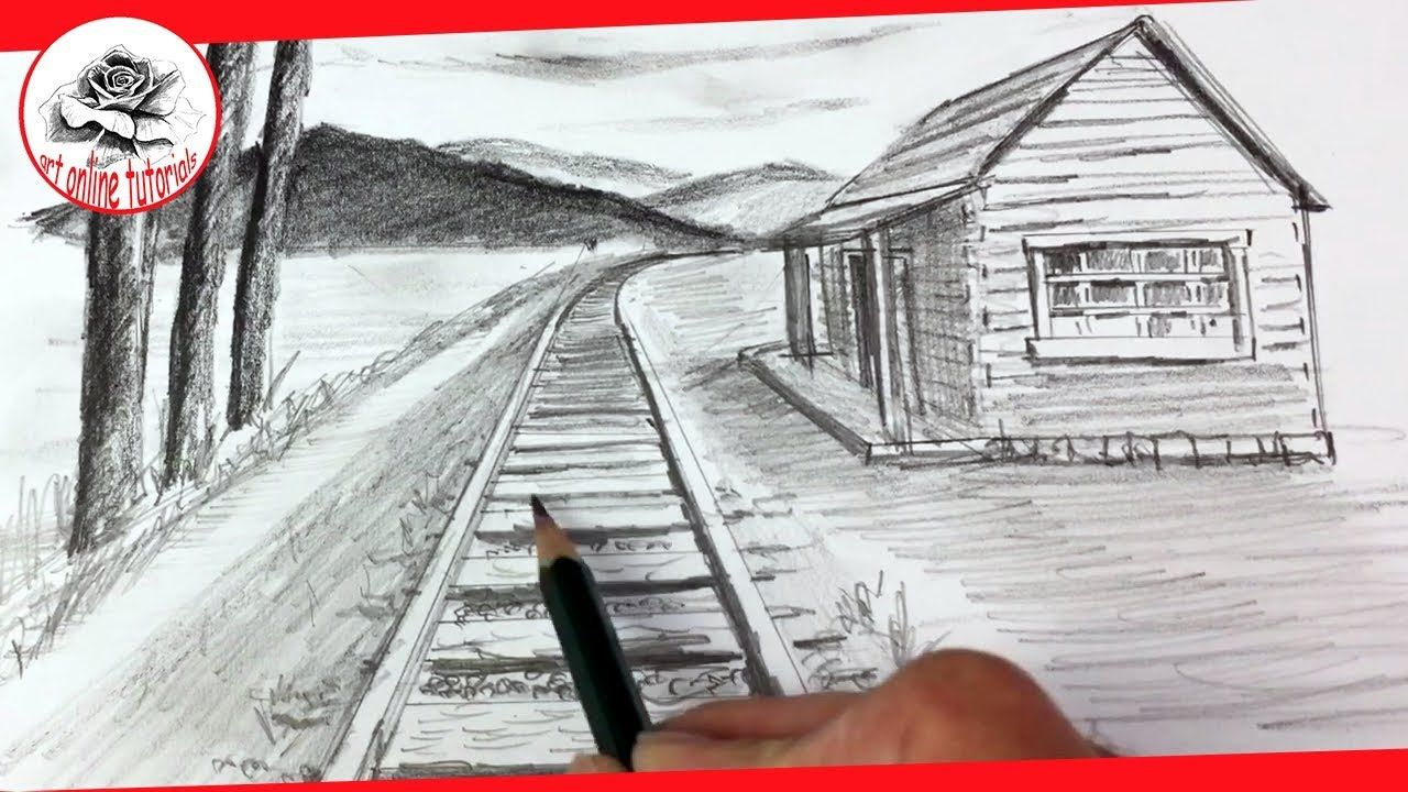How To Draw One Point Perspective Landscape With Pencil Easy Youtube One Point Perspective Drawings 1 Point Perspective