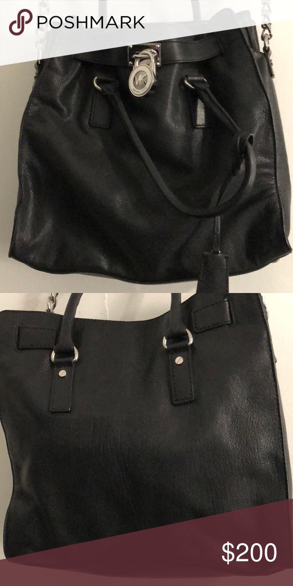 Used Michael Kors Handbags >> Michael Kors Handbag Black Leather Bag Lightly Used Michael Kors