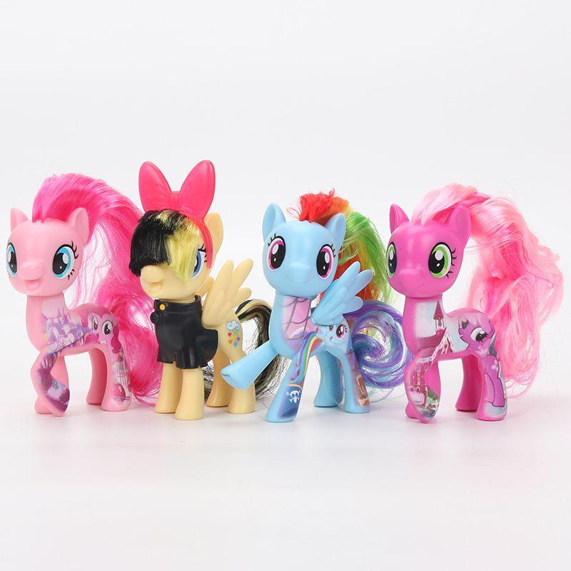 4pcs My Little Pony Toys Twilight Sparkle Rainbow Dash Fluttershy