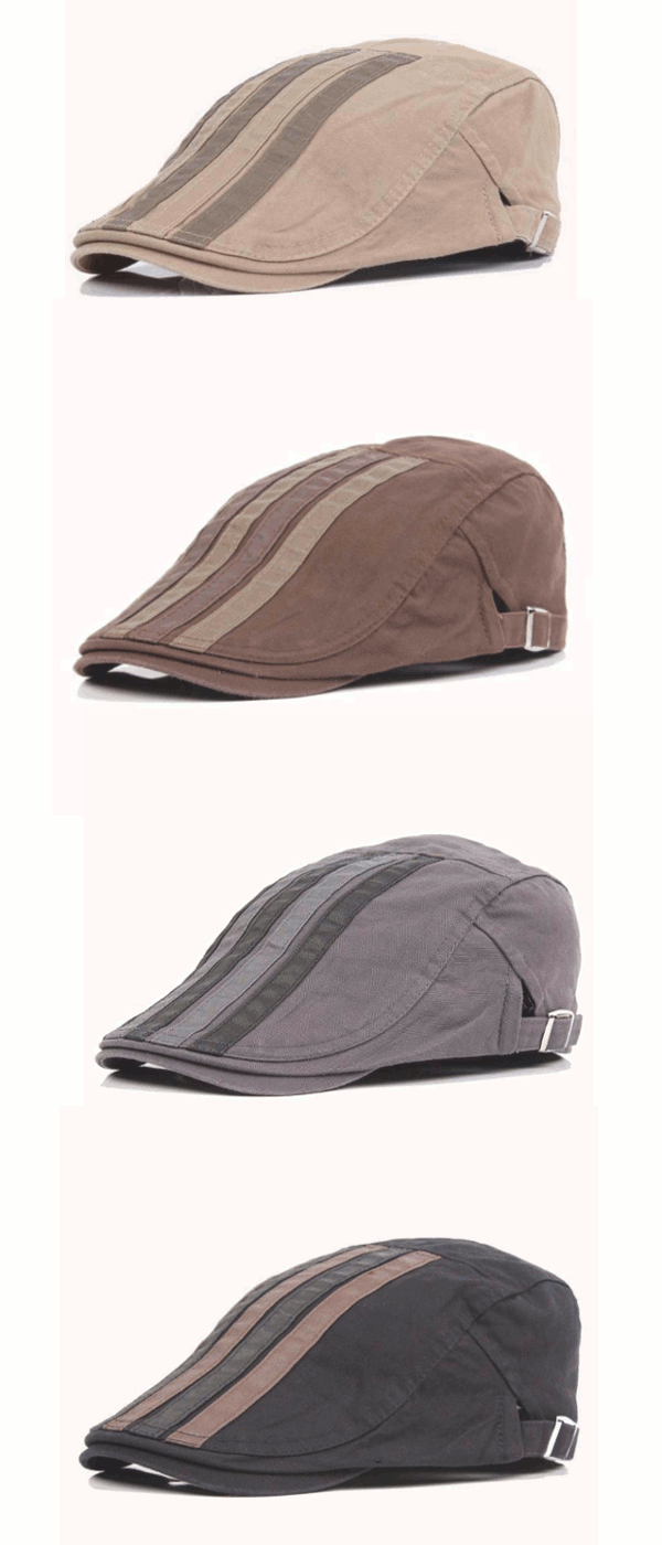 Mens Cotton Patch Vertical bar Berets Hat Outdoor Casual Visor Flat ...