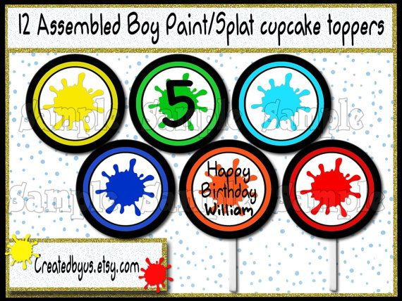 Paint party toppers Paintball Splatter Cupcake Toppers Boy