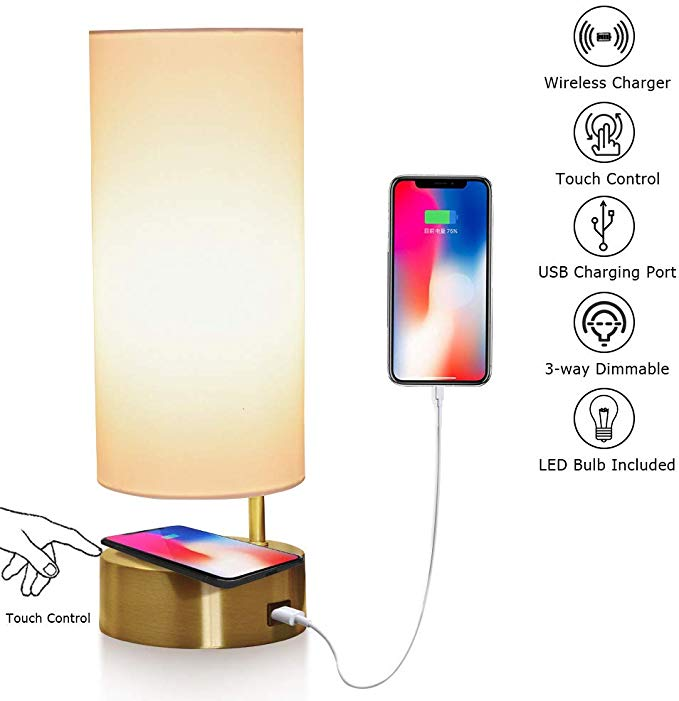 Amazon Com Touch Control Table Lamp With Wireless Charger And Usb Charging Port 3 Way Dimmable Desk Lamp Modern Night Touch Table Lamps Modern Desk Lamp Lamp