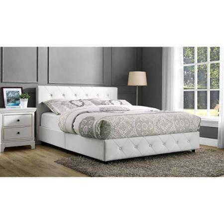 Dakota Faux Leather Upholstered Bed, White, Multiple Sizes - Walmart ...