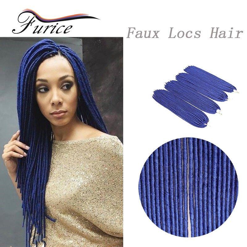 Blue Braiding Hair Faux Locs Crochet Braids Curly Braiding Hair