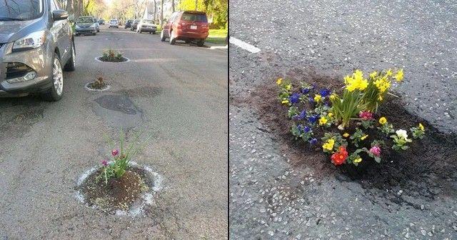 Quand les gens remplissent les Nids-de-poule avec des fleurs https://t.co/i0yO4CrIEY https://t.co/PaV7Tp7A1I