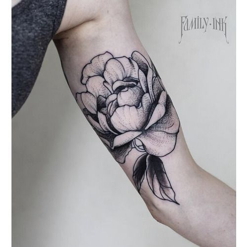 Peony shoulder tattoo by Family Ink
