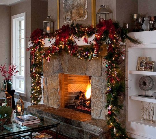 Christmas lights Mantel Pinterest Imagenes navideñas