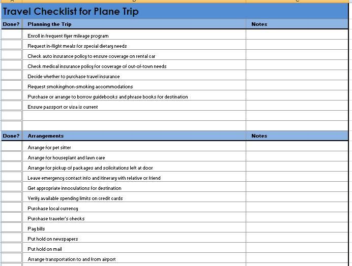Vacation Packing List Template  Template    Packing