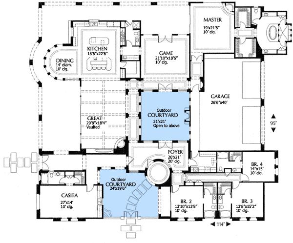 Custom Home Layout Design Mediterranean Floor Plans Courtyard House Plans House Plans