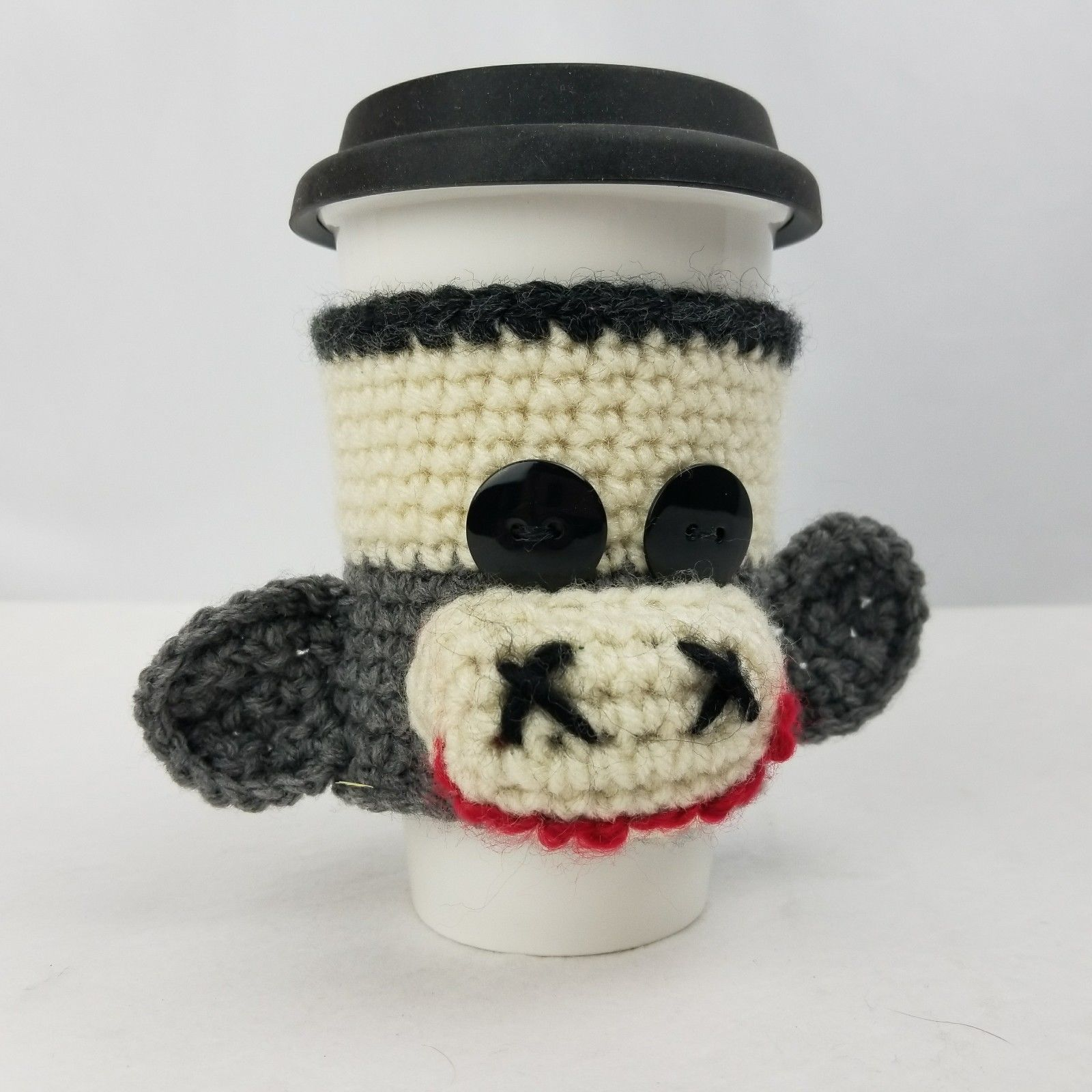 Sock Monkey Coffee Cozy / Sleeve. Comes with 10 ounce White Ceramic ...