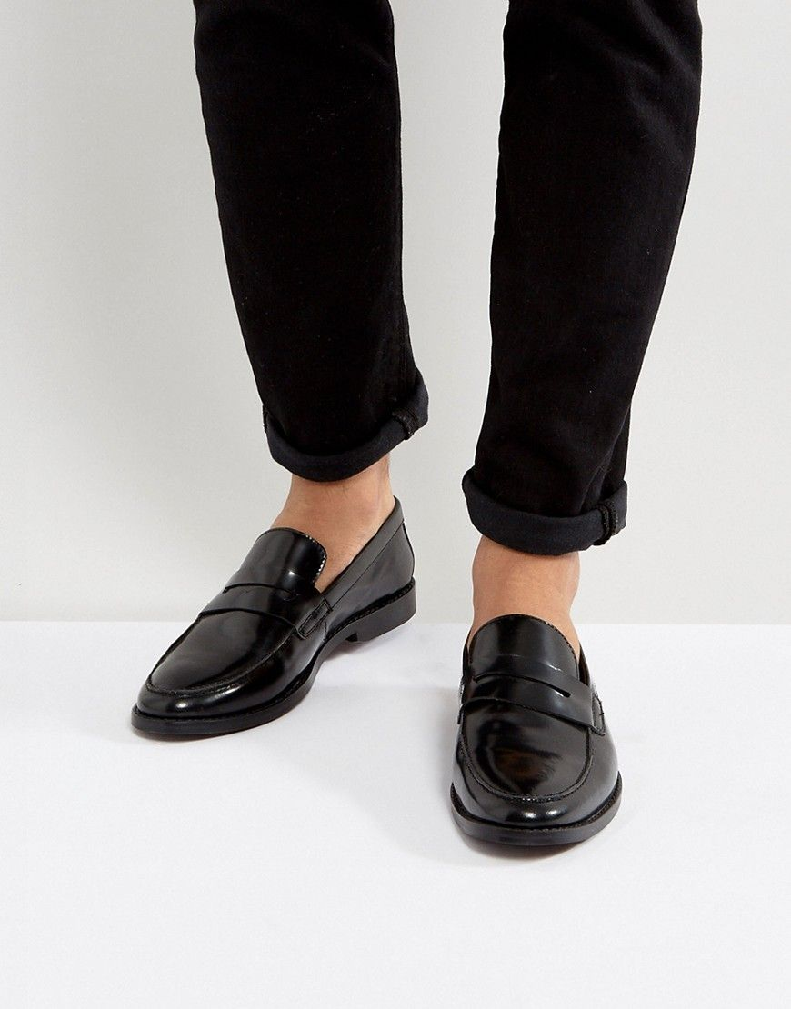 autumn shoes sale retailer on feet shots of Walk London West Leather Penny Loafers - Black | Loafers men ...