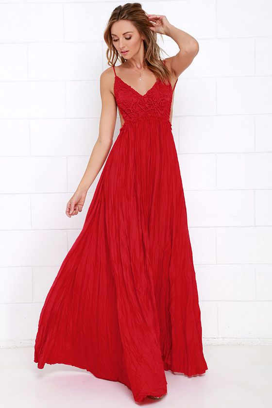 0250620e3 Vestido Nevado Pradera De Punto Rojo Maxi en Lulus.com!