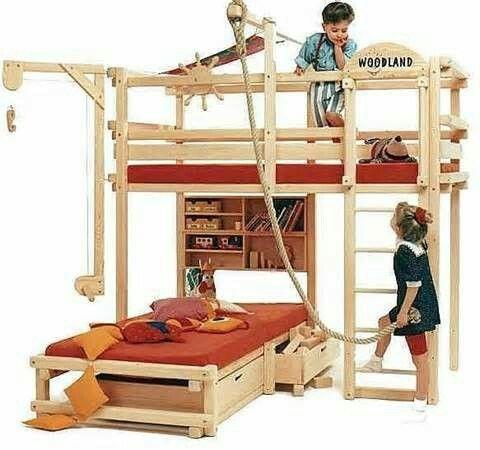 Bunk Bed With Climbing Rope Dvuhyarusnye Krovati Dlya Detej Krovati S Verhnim Yarusom Dvuhyarusnye Krovati