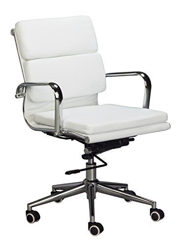 eames replica medium back office chair white vegan leather thick