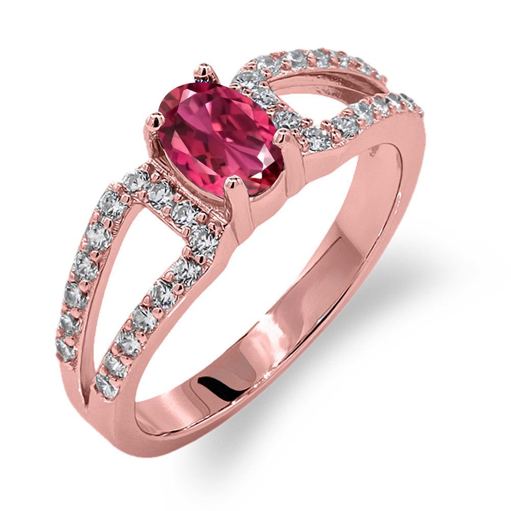 1.33 Ct Oval Pink Tourmaline 18K Rose Gold Plated Silver Ring