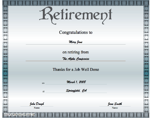 A classy blue grey certificate of retirement offering a classy blue grey certificate of retirement offering congratulations on a job well done yadclub Choice Image