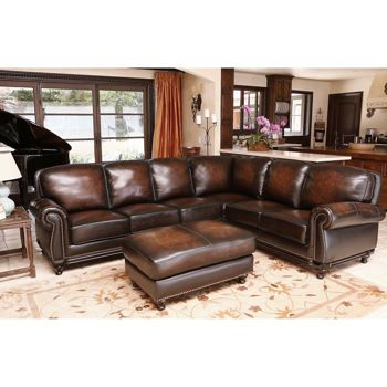 Venezia Top Grain Leather Sectional And Ottoman Living Room Set Multi Toned  BrownHand Stitched Piping On Seat And Back CushionsAntique Brass Nailhead  ...