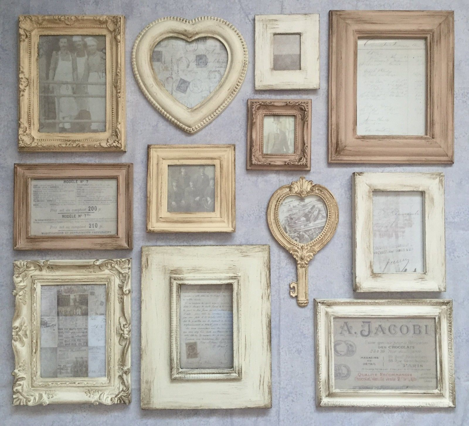 vintage wall frames. French Style Cream Shades Aged Photo Frames Vintage Pictures