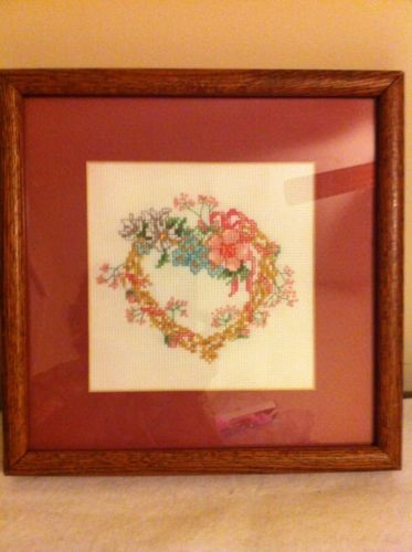 Valentine Floral Heart Counted Cross Stitch Completed W Pro Matting & Frame