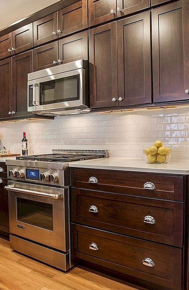 80 Beautiful Kitchen Backsplash Decor With Dark Cabinets | Kitchen