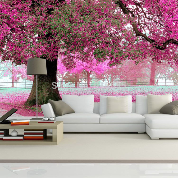 Wallpaper 3d bedroom mural roll romantic purple tree wall for Tree wallpaper bedroom