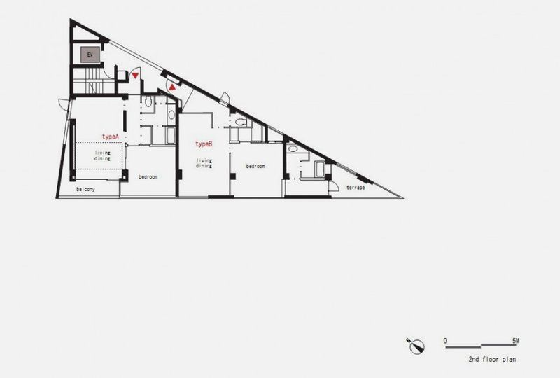 Second floor plan of modern and thin triangular building for Triangular house floor plans