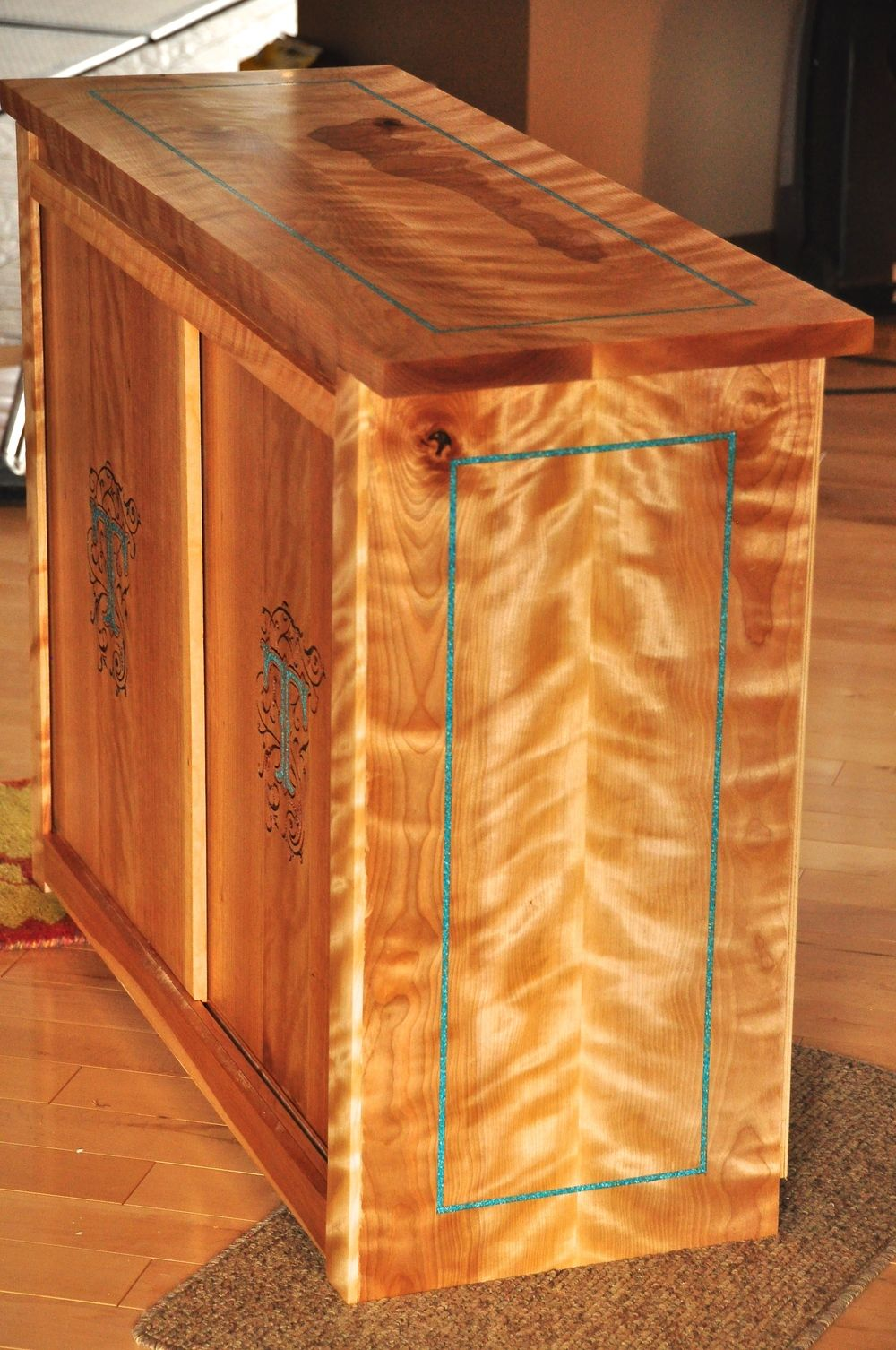 Flame Birch Cabinet With Turquoise Inlay