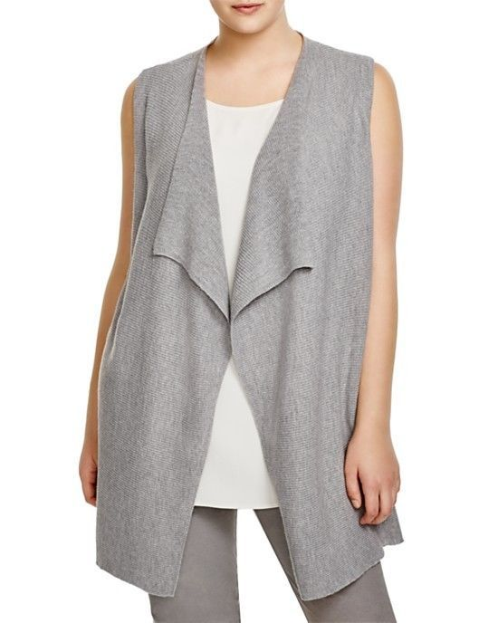330effef13d NWT 298 Eileen Fisher Plus Draped Italian Merino Wool Vest Smoke Size 1X